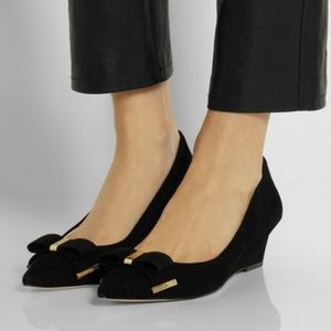 Michael Kors Kiera Suede Leather Wedge Flats
